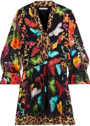 Alice + Olivia Moore Pussy-bow Printed Flocked Chiffon Mini Dress