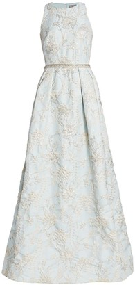 Theia Embellished Brocade Gown