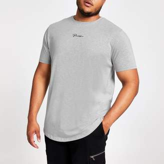 River Island Mens Big and Tall Grey Prolific slim fit T-shirt