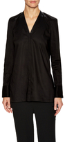 Helmut Lang Cotton Button Front V-Neck Top