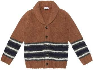 Brunello Cucinelli Kids Striped alpaca-blend cardigan