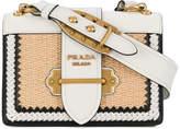 Prada White Cahier Raffia Shoulder Bag