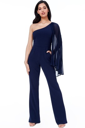 Goddiva Navy Chiffon Sleeve One Shoulder Jumpsuit