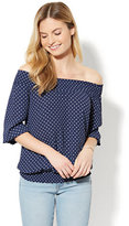 New York & Co. Smocked Off-The-Shoulder Blouse - Navy Dot Print