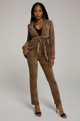 Good American Leopard Suit Pant | Caramel Leopard001