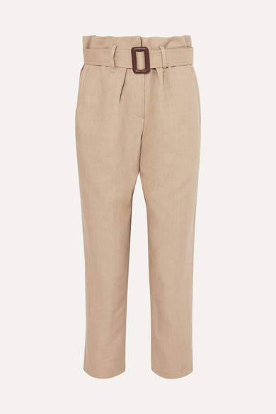 Brunello Cucinelli Belted Linen And Cotton-blend Tapered Pants - Beige
