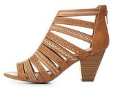 Charlotte Russe Embroidered Strappy Caged Sandals