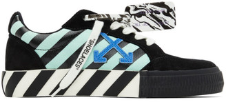Off-White Black and Green Vulcanized Diagonal Print Sneakers