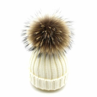 Feifanshop Womens Girls Warm Winter Crochet Hat Wool Knitted Beanie with Large Raccoon Fox Fur Pom Pom Cap Ski Snowboard Hats Bobble Ball (White)(Size: One size fit all)