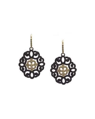 Armenta Old World Filigree Earrings with Black Sapphires & Diamonds
