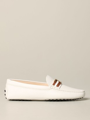 Tod's Tods Loafers Tods Moccasin Metallic T Monogram In Deer Leather