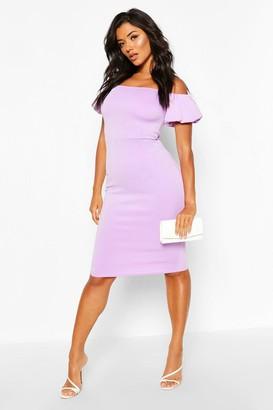 boohoo Off The Shoulder Puff Sleeve Midi Dress