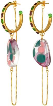EJING ZHANG 'Munro' resin drop hoop earrings