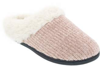 Isotoner Women's Chenille Faux Fur Hoodback Slippers
