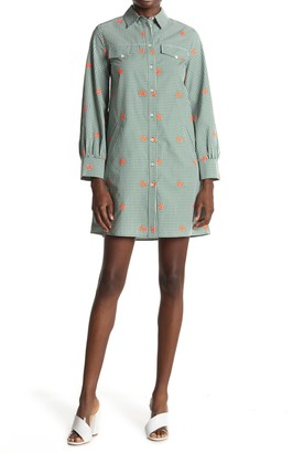 Paul & Joe Sister Lucia Floral Embroidered Gingham Shirt Dress