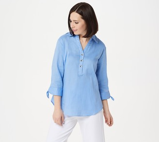 H by Halston Woven Button Front Shirt with Tie Sleeve Detail