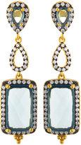 Freida Rothman Pave Aqua Crystal Geometric Triple-Drop Earrings