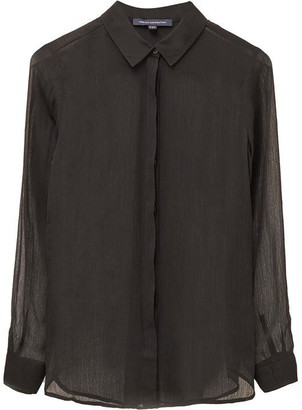 French Connection Crinkle Georgette Classic Sheer Shirt