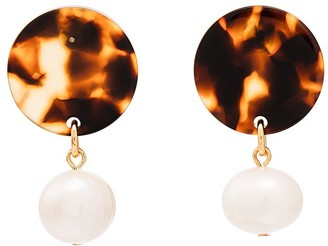 Aym Brown and white Andreia disc pearl earrings