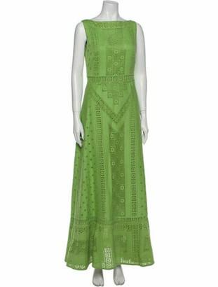 Valentino Bateau Neckline Long Dress Green
