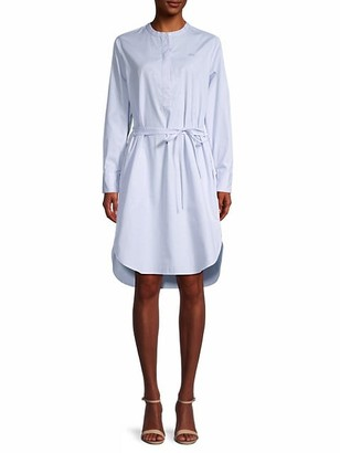 Lacoste Pinstriped Cotton Belted Shirtdress