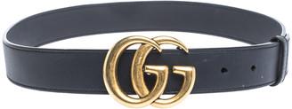 Gucci Navy Blue Leather GG Logo Buckle Belt 80CM