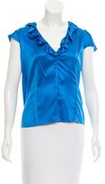 Magaschoni Silk Short Sleeve Blouse