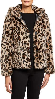 Sage Savannah Leopard-Print Faux-Fur Jacket