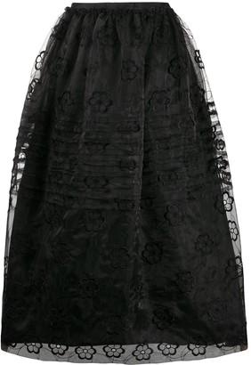 Simone Rocha Floral Embroidery Full Skirt