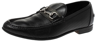 Gucci Black Perforated Leather Horsebit Slip On Loafers Size 45