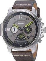 Diesel Men's DZ4433 Whiplash Gunmetal IP Grey Leather Watch