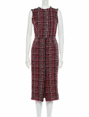 Alexander McQueen Plaid Print Midi Length Dress Red