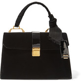 Miu Miu School Velvet And Patent-leather Tote - Black