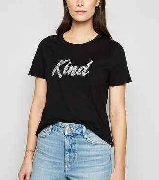 New Look Diamante Kind Slogan T-Shirt