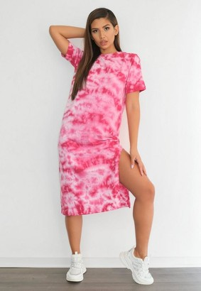 Missguided Tie Dye Short Sleeve T Shirt Midi Dress