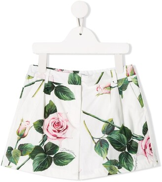 Dolce & Gabbana Kids Rose Print Shorts