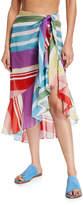 Agua De Coco Striped Pareo Coverup Skirt
