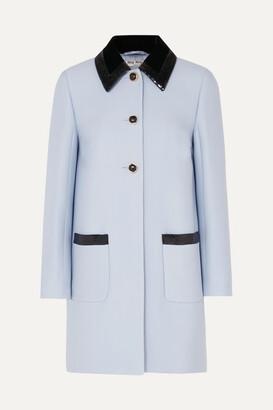 Miu Miu Sequin-embellished Velvet-trimmed Cady Coat - Blue