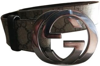 Gucci Interlocking Buckle Beige Cloth Belts
