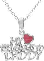 Hallmark Kids Sterling Silver Enamel My Heart Belongs to Daddy Pendant Necklace