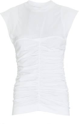 Ganni Ruched Sleeveless Cotton T-Shirt