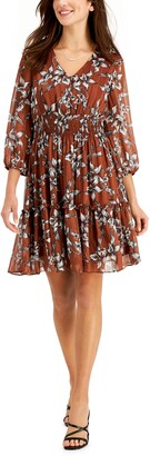 Taylor Petite Floral-Print Fit & Flare Dress