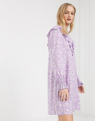 Monki floral print ruffle detail smock dress in lilac