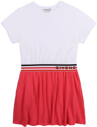 Givenchy Girl's Two-Tone Striped Logo Dress, Size 12-14