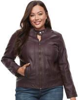 Apt. 9 Plus Size Faux-Leather Moto Jacket