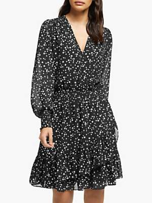 Michael Kors MICHAEL Ruffle Wrap Dress, Black/Bone