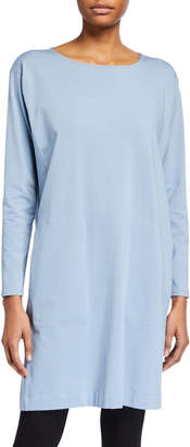 Eileen Fisher Organic Cotton Stretch Jersey Long-Sleeve Shift Dress