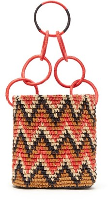 Sensi Studio - Print Toquilla Straw Basket Bag - Womens - Red Multi