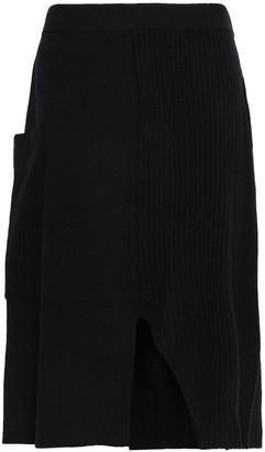 Pringle Cutout Ribbed Cashmere Midi Skirt