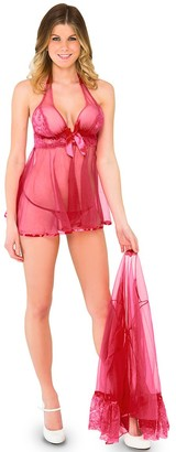 Icollection Lingerie iCollection Women's Denier Halter Babydoll and Robe Set